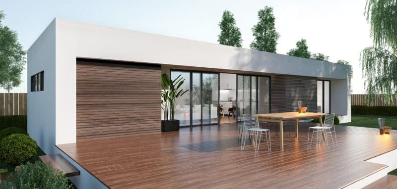 Spacious flat with glass doors and windows. Wooden table in the center with five steel chairs. Wooden floor and stairs.