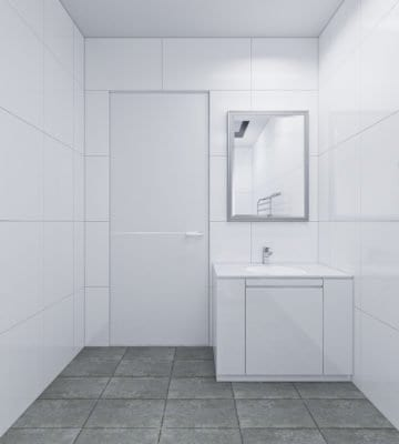 White tiles, cabinet, door. With faucet and mirror.