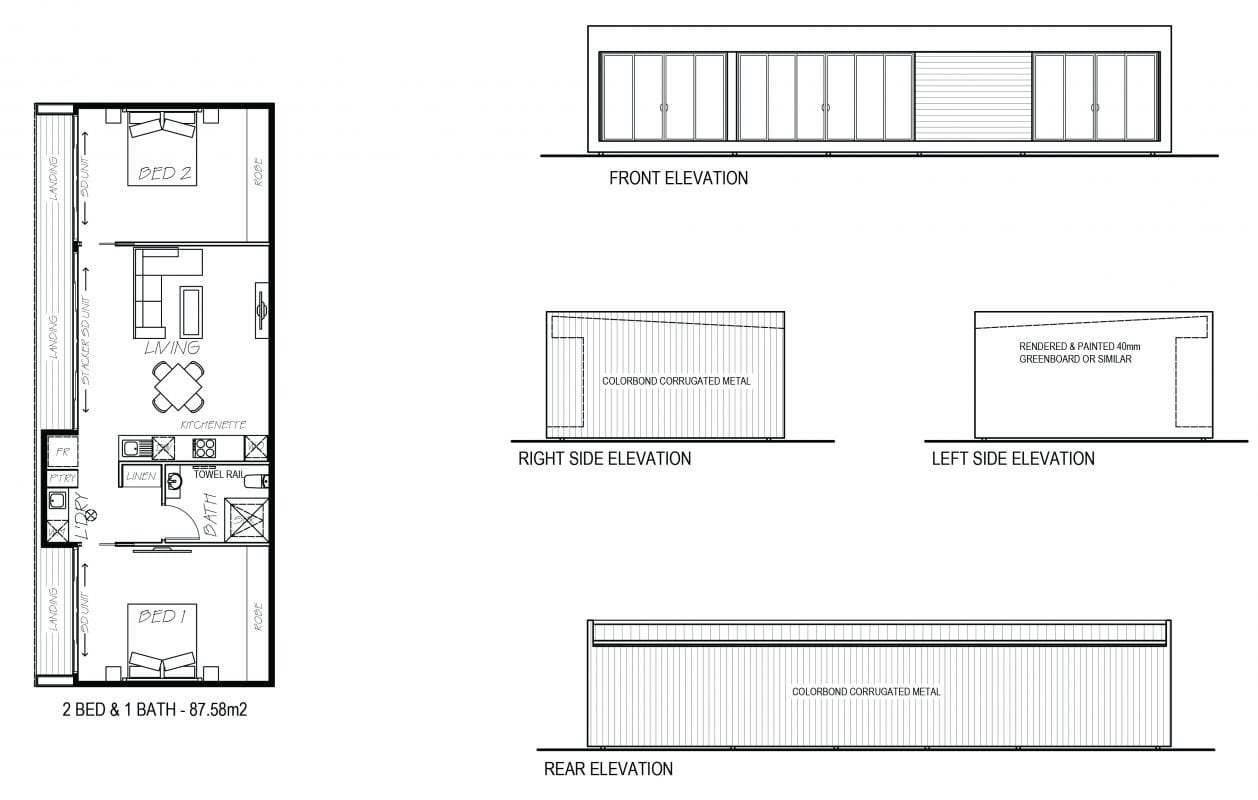 An image showing sketch of 2 bed and 1 bath with its elevation design