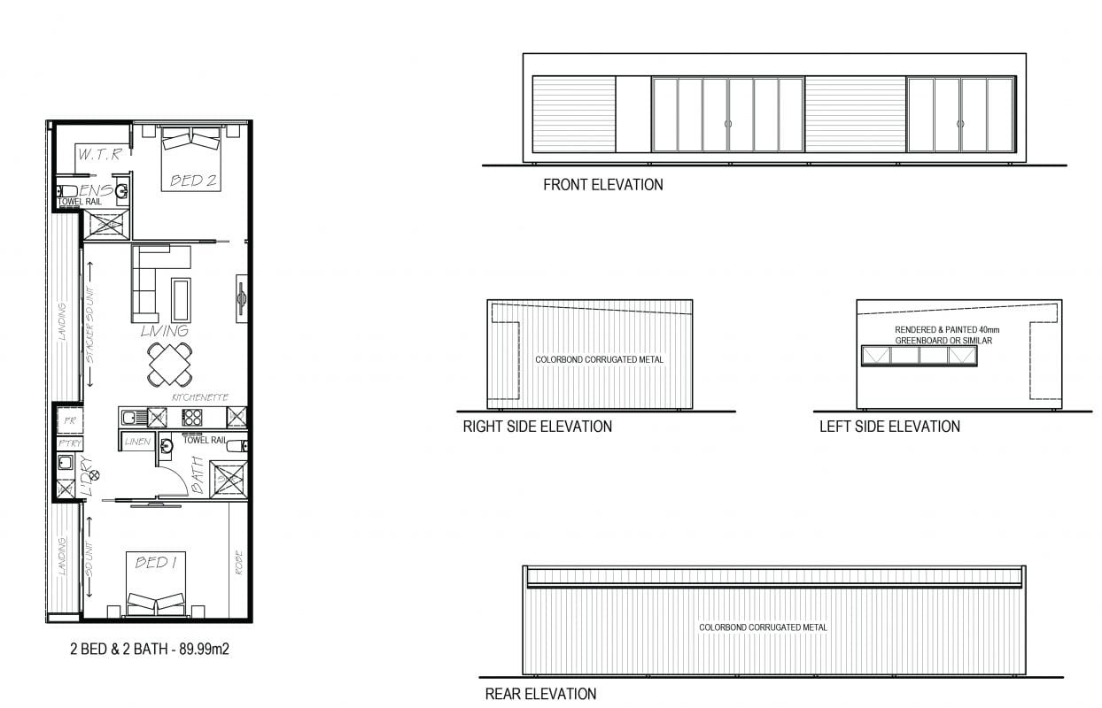 An image showing sketch of 2 bed and 2 bath with its elevation design